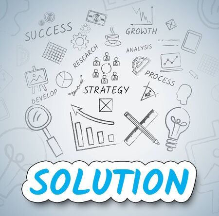 solve: Solution Ideas Indicating Resolution Solve And Innovations Stock Photo