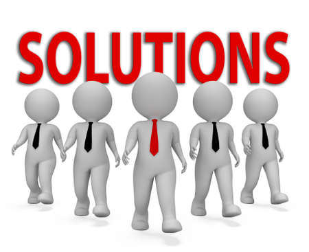 Solutions Businessmen Representing Solved Resolution And Entrepreneurs 3d Rendering