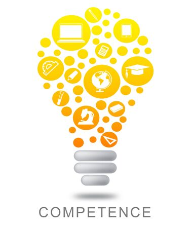 adeptness: Competence Lightbulb Representing Power Source And Powered Stock Photo