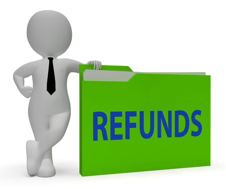 refunds: Refunds Folder Indicating Money Back And Reimbursement 3d Rendering Stock Photo