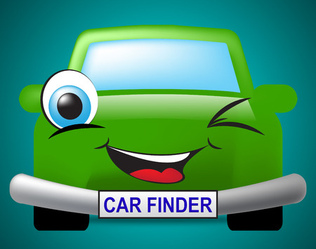 finders: Car Finder Indicating Search For And Transport Stock Photo