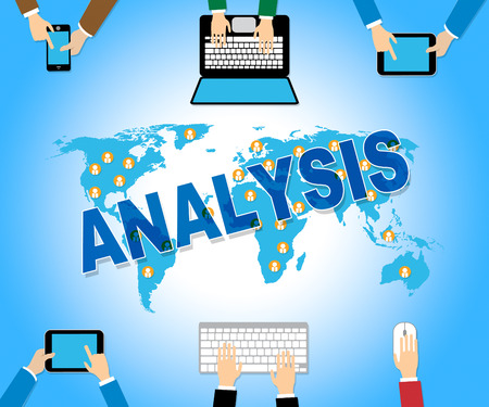 investigates: Analysis Online Showing Data Analytics And Searching Stock Photo