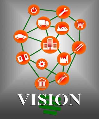biz: Vision Icons Indicating Businesses Visions And Mission Stock Photo