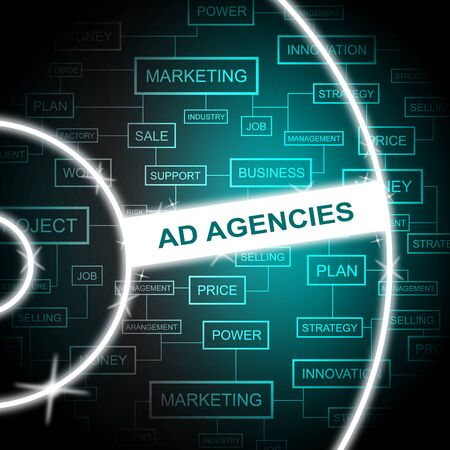 adverts: Ad Agencies Indicating Company Promotion And Adverts Stock Photo