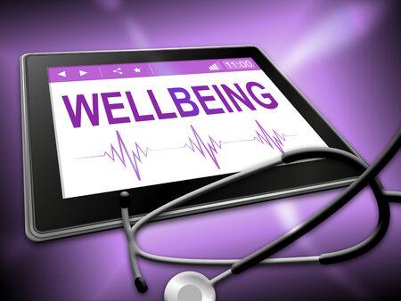 preventive medicine: Wellbeing Tablet Indicating Preventive Medicine And Tablets Stock Photo