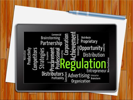 edicto: Reglamento Palabra Mostrando Directrices de la regla y la decisión de la tableta Foto de archivo