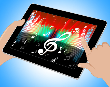equaliser: Equaliser Music Indicating Bass Clef And Equalizer Tablet
