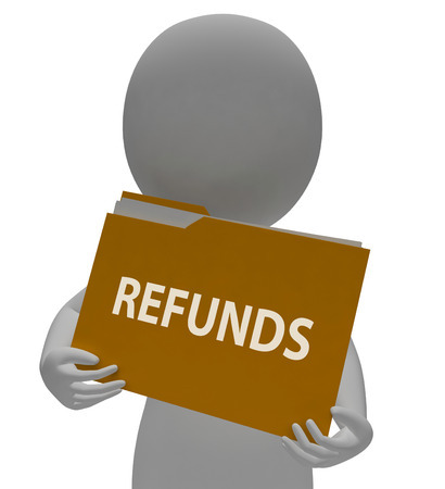 refunds: Refunds Folder Indicating Money Back And Repay 3d Rendering Stock Photo