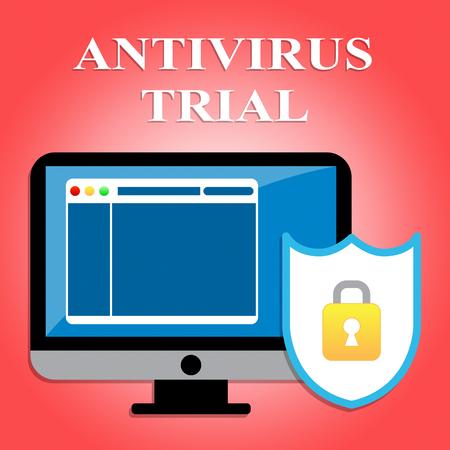 antivirus: Antivirus Trial Representing Malicious Software And Evaluation Stock Photo