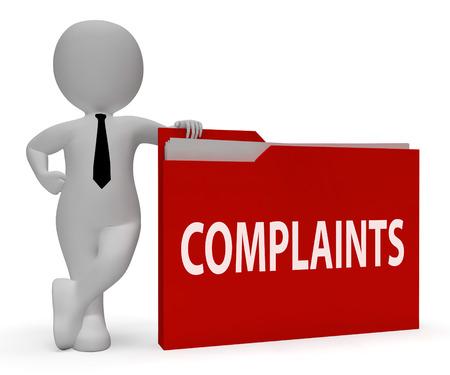 Las quejas carpeta Indicando Organización organizar y Trabajo de oficina de representación 3d