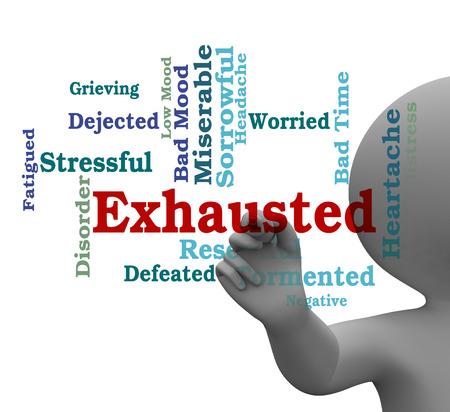 drained: Exhausted Word Representing Tired Out And Wordcloud 3d Rendering