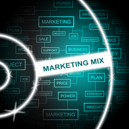 Marketing Mix Indicating Email Lists And Media Stock Photo