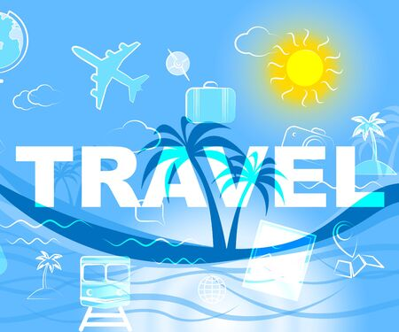 expedition: Travel Icons Showing Travels Expedition And Sign Stock Photo