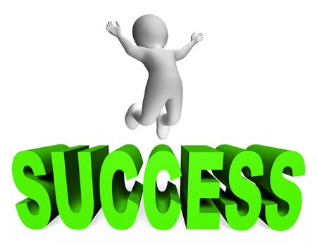 victor: Success Character Meaning Triumphant Successful And  3d Rendering Stock Photo