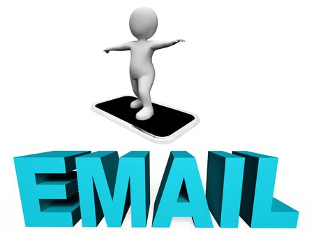 correspond: Smartphone Email Showing Send Message And E-Mail 3d Rendering