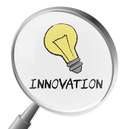 to innovate: Innovation Magnifier Showing Innovate Revolution And Searching