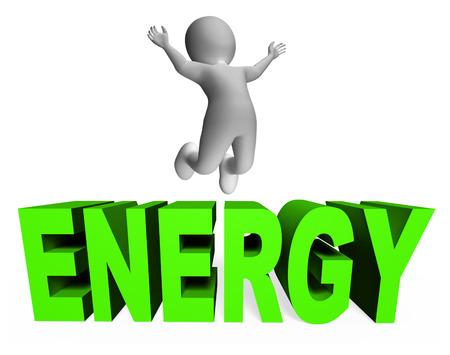 エネルギー動力を与えられた文字とエネルギッシュな 3 d レンダリングを意味文字 写真素材