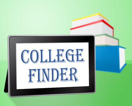 finder: College Finder Indicating Search Out And Learn Stock Photo