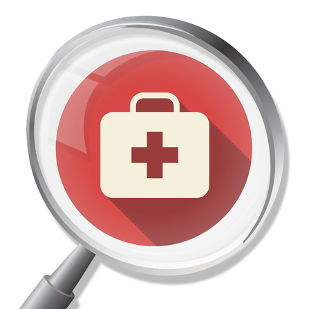 firstaid: First Aid Magnifier Indicating Care Healthcare And Medic