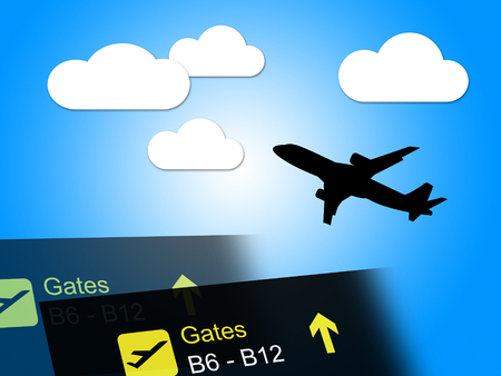vacationing: Flight Departure Representing International Travel And Vacationing
