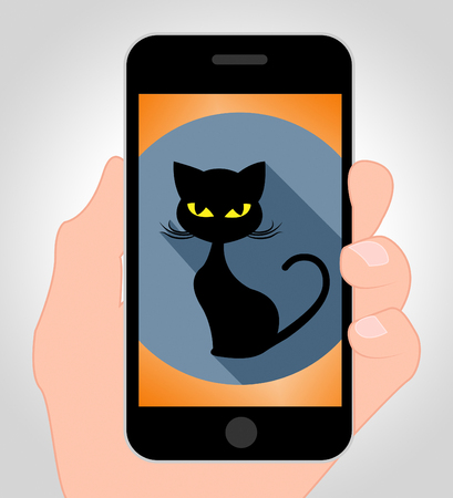 haunting: Halloween Cat Online Indicating Mobile Phone And Kitty