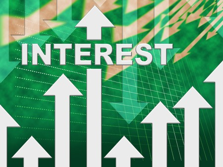 percentage sign: Interest Graph Indicating Percentage Sign And Earn Stock Photo