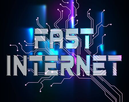 high speed internet: Fast Internet Indicating High Speed And Network