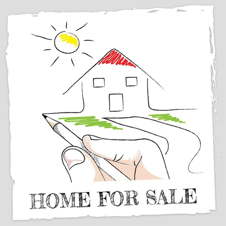 sell house: Home For Sale Meaning Sell House And Buy Stock Photo