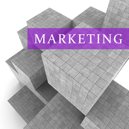 emarketing: Marketing Blocks Meaning Sales Promotion And Ecommerce 3d Rendering Stock Photo