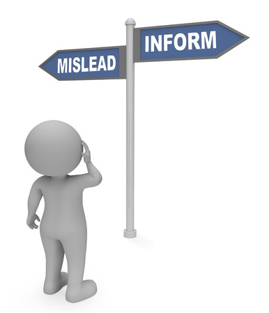 inform information: Mislead Inform Sign Meaning Tell Information And Deceived 3d Rendering