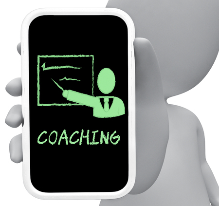 lessons: Coaching Online Showing Give Lessons And Instruction 3d Rendering Stock Photo