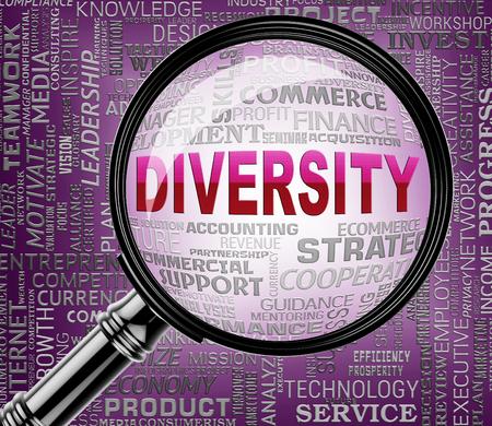 variance: Diversity Magnifier Indicating Mixed Bag And Variety Stock Photo