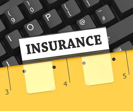 insure: Insurance File Showing Policy Insure And Organize 3d Rendering