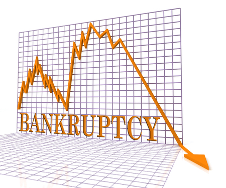 indebted: Bankruptcy Graph Showing In Debt And Debts 3d Rendering
