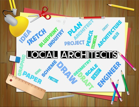 draftsman: Local Architects Showing Occupations Job And City Stock Photo