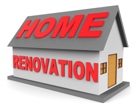 modernize: Home Renovation Meaning Real Estate And Modernized 3d Rendering Stock Photo