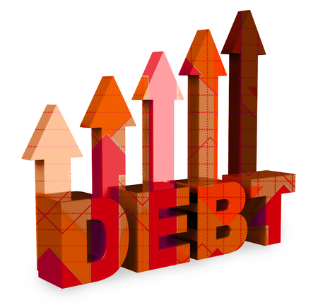 indebt: Debt Arrows Showing Financial Obligation And Direction 3d Rendering
