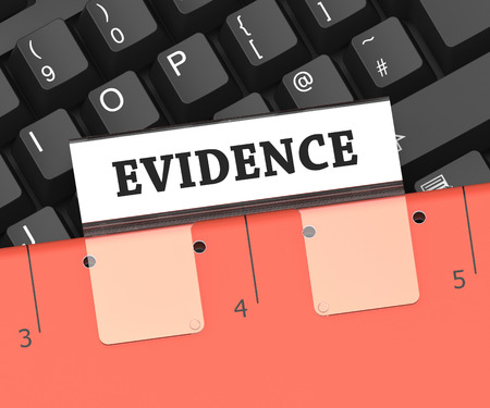 Evidence File Showing Testimony Files And Document 3d Rendering Stock Photo