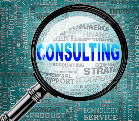 seek: Consulting Magnifier Meaning Seek Information And Advice Stock Photo