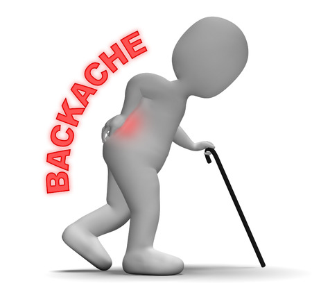 Backache Pain Meaning Vertebral Column And Chiropractor 3d Rendering