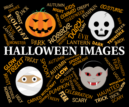 haunting: Halloween Images Representing Trick Or Treat And Pics Stock Photo