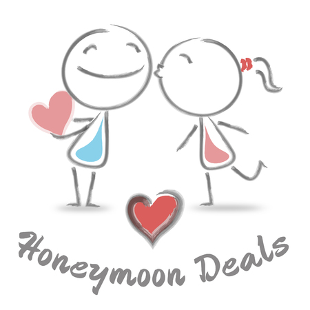 honeymoons: Honeymoon Deals Representing Find Love And Trip Stock Photo