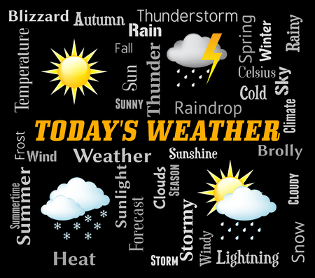 meteorological: Todays Weather Indicating Meteorological Conditions And Forecast Stock Photo