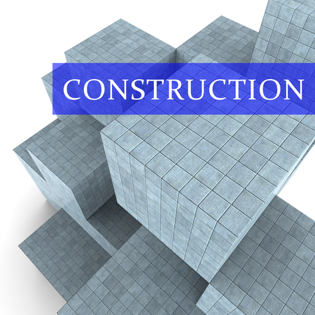 built: Construction Blocks Indicating Building Built And Property 3d Rendering Stock Photo
