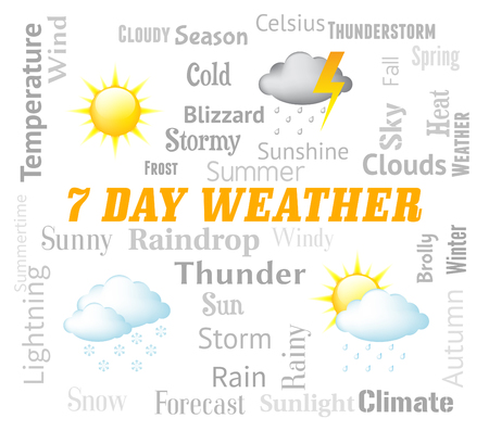 forecasts: Seven Day Weather Indicating Meteorological Conditions And Forecasts