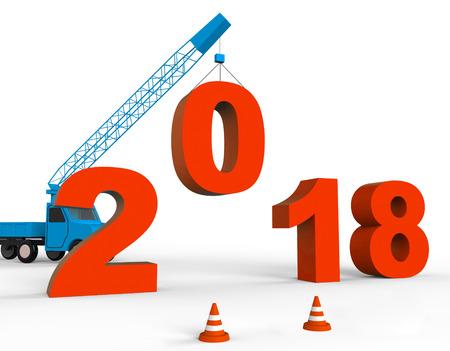 twenty: Twenty Eighteen Showing Happy New Year And Celebrate 3d Rendering Stock Photo