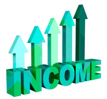Income Arrows Indicating Revenue Wage And Direction 3d Rendering