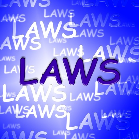 dictate: Law Words Showing Bylaws Legal And Ruling Stock Photo