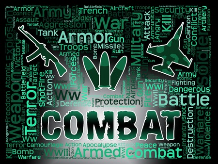 combat: Combat Words Indicating Military Action And Warfare Stock Photo