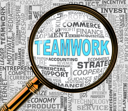 Teamwork Magnifier Meaning Magnification Search And Organized